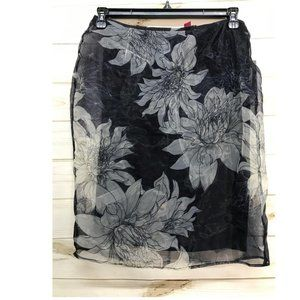 Size 8 Vince Camuto Floral-Overlay Skirt